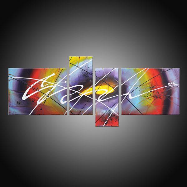 Tableau abstrait quadriptyque Dedale