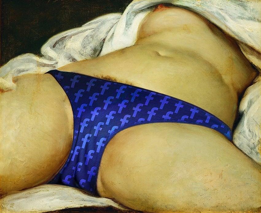 L'origine du monde par Gustave Courbet corrigé par John Beckley pour passer la censure de Facebook