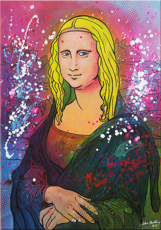 Top Mona Lisa Pop Art portrait - Joconde hijacked with trendy colors RZ81
