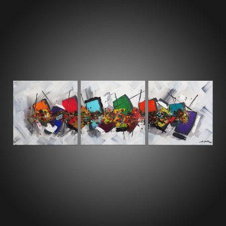 Tableau abstrait triptyque Milium