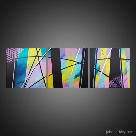 Tableau abstrait triptyque Habia